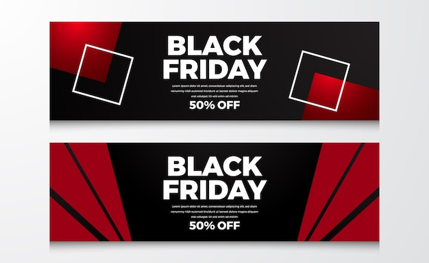 Special offer sale banner of black friday event with red and black background geometrical