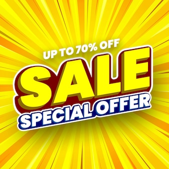 Специальное предложение продажи баннер на желтом полосатом фоне векторные иллюстрации