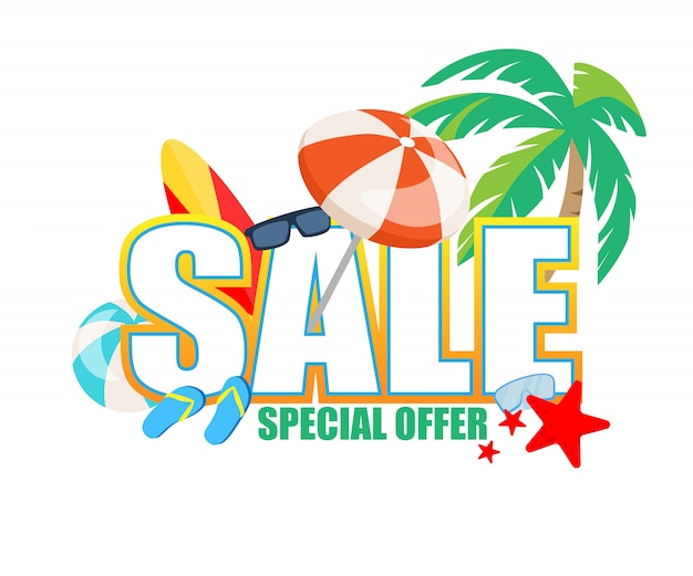 Special offer sale banner, traveling attributes as sunglasses
