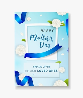 Special offer sale mothers day template beautiful white jasmine flower.
