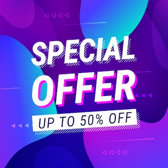 Special offer sale neon style with liquid shapes