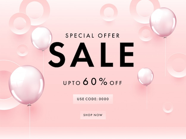 Special offer sale poster design with 60% discount offer, paper cut circles and glossy balloons on pastel pink background.