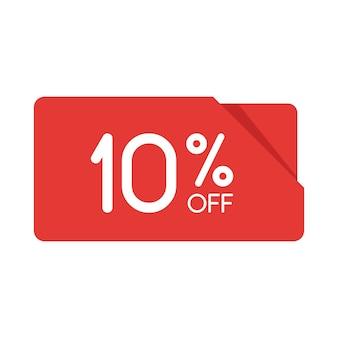 特別オファーセール赤い長方形の折り紙タグ。 10%割引のオファー価格ラベル、小売、販売プロモーションマーケティング、孤立したベクトルイラストの広告キャンペーンのシンボル。