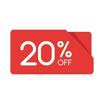 特別オファーセール赤い長方形の折り紙タグ。 20%割引のオファー価格ラベル、小売、販売プロモーションマーケティング、孤立したベクトルイラストの広告キャンペーンのシンボル。