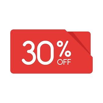 特別オファーセール赤い長方形の折り紙タグ。 30%割引のオファー価格ラベル、小売、販売プロモーションマーケティング、孤立したベクトルイラストの広告キャンペーンのシンボル。