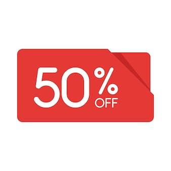 特別オファーセール赤い長方形の折り紙タグ。割引50%オファー価格ラベル、小売、販売プロモーションマーケティング、孤立したベクトルイラストの広告キャンペーンのシンボル。