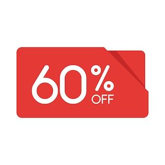 特別オファーセール赤い長方形の折り紙タグ。 60%割引のオファー価格ラベル、小売、販売プロモーションマーケティング、孤立したベクトルイラストの広告キャンペーンのシンボル。