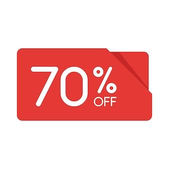 Специальное предложение продажи бирки оригами красный прямоугольник. скидка 70 процентов предложения ценник, символ рекламной кампании в рознице, маркетинг промо продажи, отдельные векторные иллюстрации.