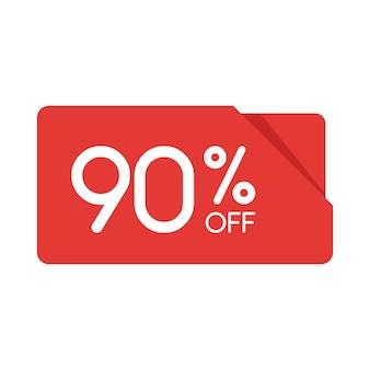 特別オファーセール赤い長方形の折り紙タグ。割引90%オファー価格ラベル、小売、販売プロモーションマーケティング、孤立したベクトルイラストの広告キャンペーンのシンボル。