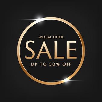 Special offer sale vector lettering of gold on black background
