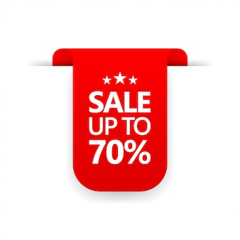 Special offer sign  price tag for sale up to 70% discount promotion  shopping tags line icon