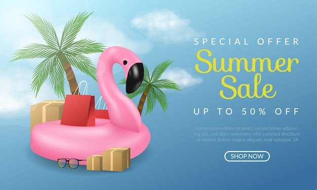 Special offer summer sale banner illustration with flamingo and coconut tree on blue background