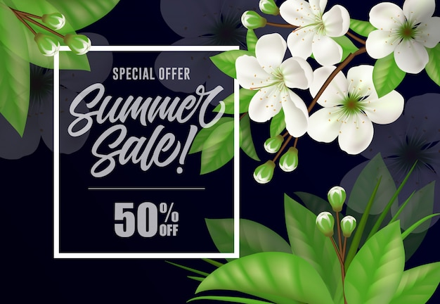 Special offer summer sale fifty percent off lettering.