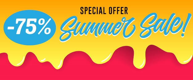 Special offer, summer sale lettering on dripping paint. summer offer or sale advertising