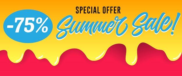 물이 뚝뚝 떨어지는 페인트에 여름 세일 레터링 특별 할인. 여름 행사 또는 판매 광고