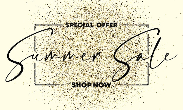 Special offer summer sale text on the gliiter gold texture. design element. for business, marketing and advertising. vector on isolated background. eps 10.