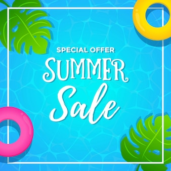 Special offer summer sale with pool background