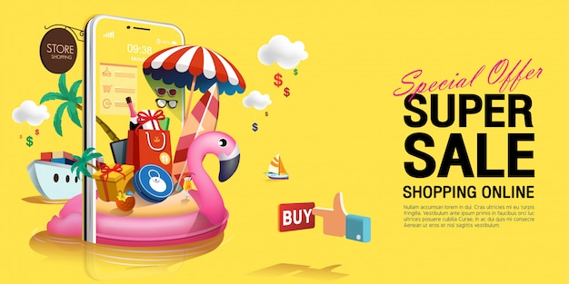 Special offer super summer sale in yellow concept on mobile phone