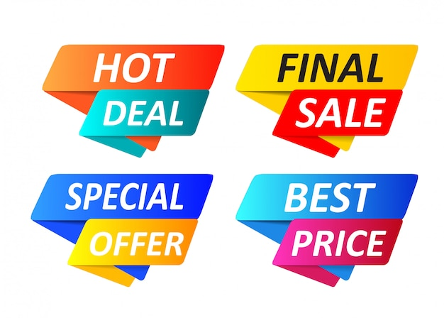 Special offer tag collection, set of banner element icons.