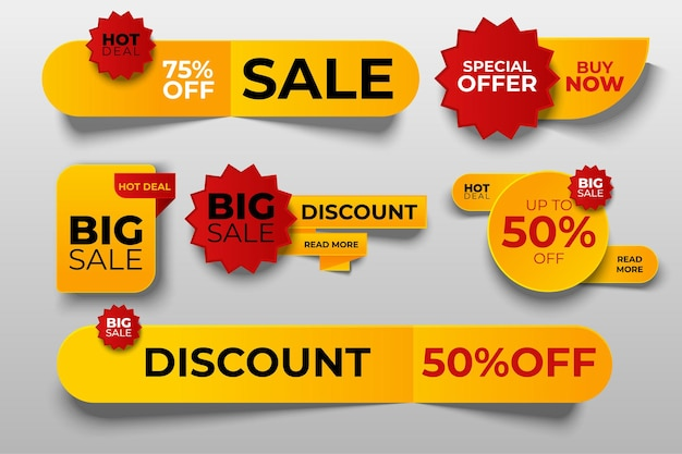 Special offer tag collection, set of banner elements for website and advertising.