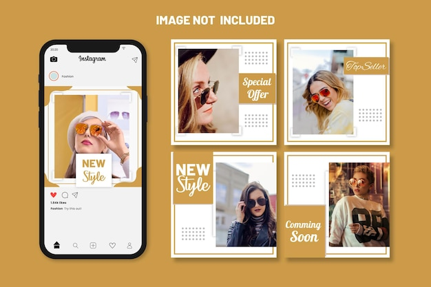 Шаблон специального предложения и набор шаблонов сообщений в социальных сетях fashion sale