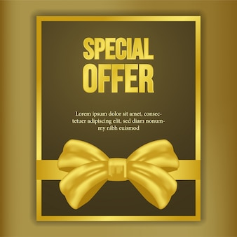Special offer template with golden ribbon banner