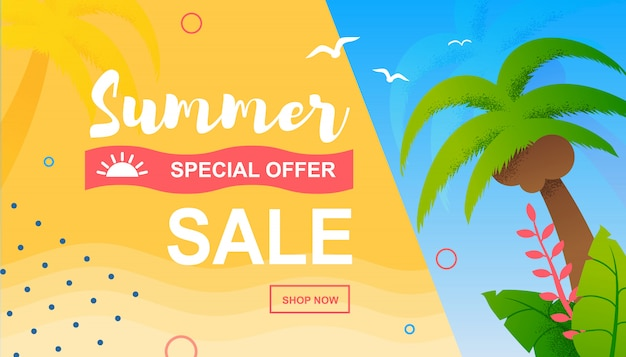 Special offer tropical flat banner template for summer sale. promotion