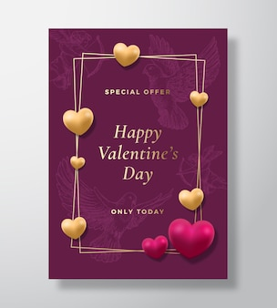 Special offer valentines day abstract vector greeting card, poster or holiday surface