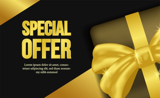 Special offer with gift box and golden ribbon