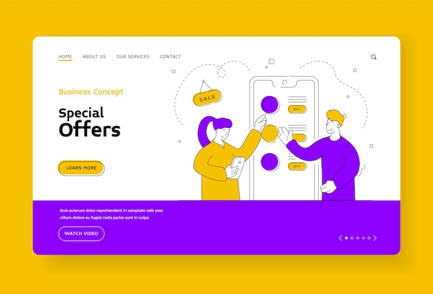 Special offers banner template. cartoon male character online shop assistant recommends to the female customer profitable personal offers during sale. flat style illustration, thin line art design