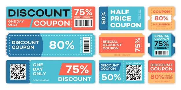 Special offers promo vouchers templates set