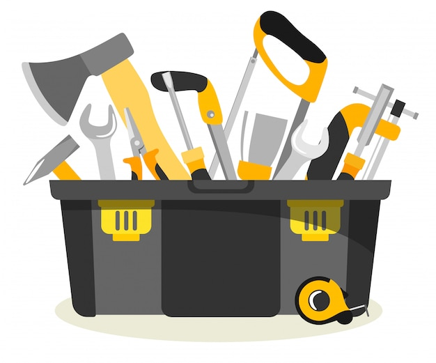Специальный пластиковый ящик для инструментов с инструментами в стиле плоский