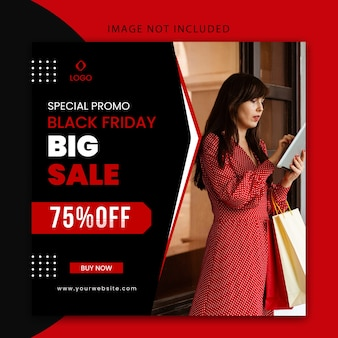 Special promo black friday big sale banner and social media post template editable
