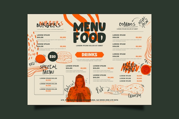 Special restaurant food menu template