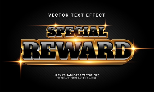 Special reward 3d editable text style effect with modern black color