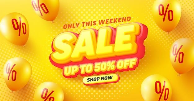 Специальная распродажа со скидкой 50% на дизайн плаката или флаера для розничной торговли, покупок или продвижения в желто-красном стиле