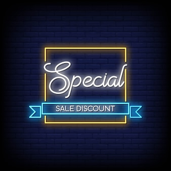 Special sale discount neon signs style text vector