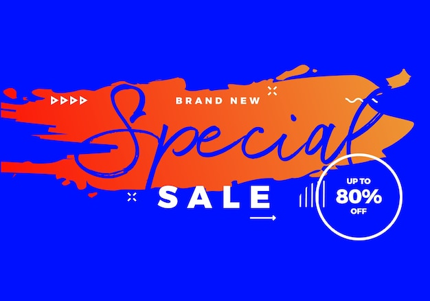 Special sale hot banner with brush on background