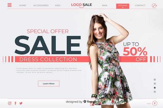 Special sale landing page with photo