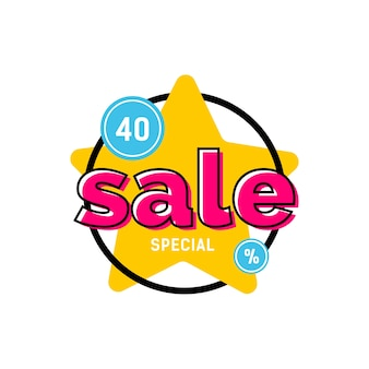 Special sale lettering on yellow star