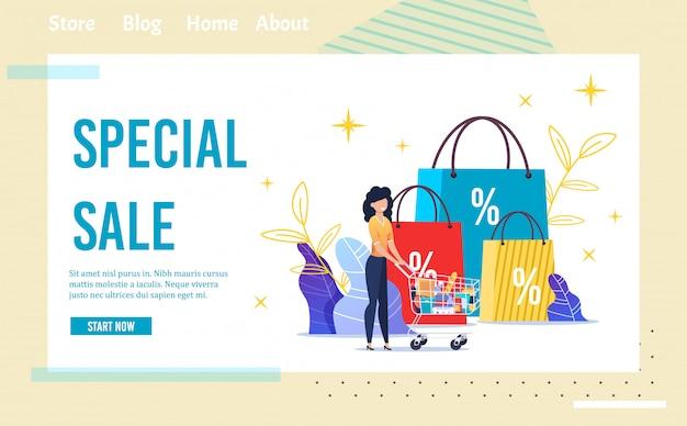 Special sale shop offer landing page in frame