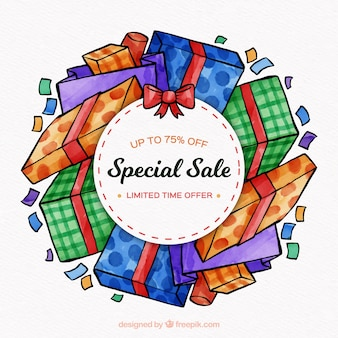 Special sale with watercolor gift boxes
