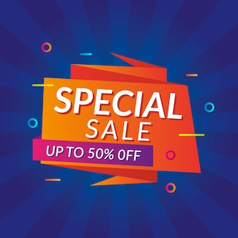 Special sales banner in origami style
