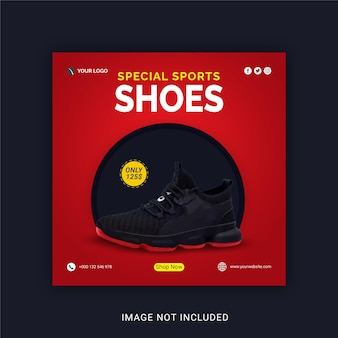 Special sports shoes social media poste template