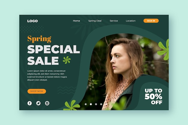 Special spring sale offers landing page Free Vector