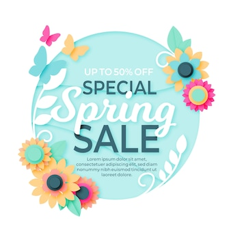 Special spring sale in paper style