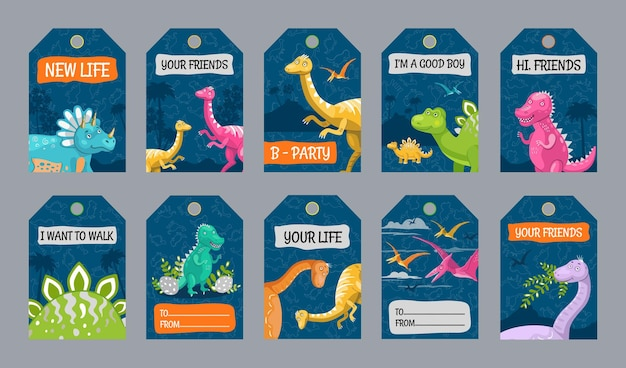 Special tag designs with dino characters