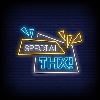 Special thanks neon signs style text