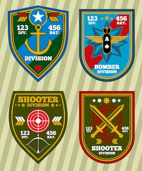 Special unit military army and navy patches, emblems set