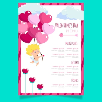 Special valentine's day menu template